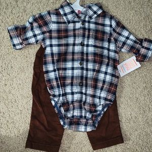 NWT Carter's baby plaid & pant set